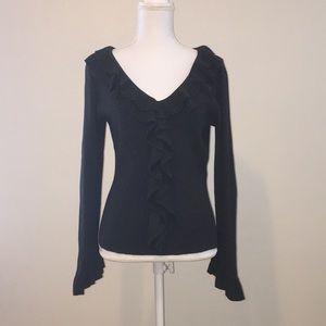 INC grey ruffled sweater